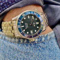 Omega Steel Quartz Blue No numerals 36mm pre-owned Seamaster Diver 300 M