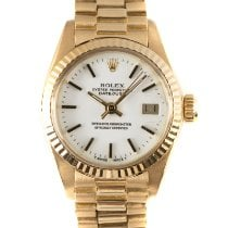 Rolex Yellow gold Automatic White 26mm pre-owned Lady-Datejust