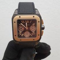 Cartier Santos 100 Pозовое золото Черный Римские
