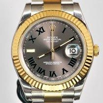 Rolex Datejust II Zlato/Zeljezo 41mm Srebro Rimski brojevi