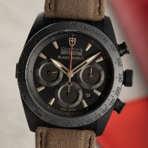 Tudor Fastrider Black Shield pre-owned 42mm Black Chronograph Date Leather