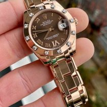 Rolex Lady-Datejust Pearlmaster pre-owned 34mm Brown Date Rose gold