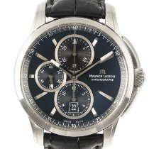 Maurice Lacroix Pontos Chronographe pre-owned 42mm Black Chronograph Date Crocodile skin