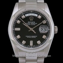 Rolex Day-Date 36 occasion 36mm Noir Date Affichage des jours Or blanc