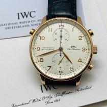 IWC Portuguese Chronograph begagnad 41mm Silver Kronograf Dubbelkronograf Läder