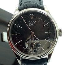 Rolex Cellini Dual Time Aur alb 39mm Negru Fara cifre