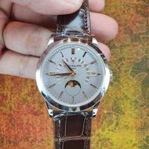 Patek Philippe Platinum Automatic Silver No numerals 39.5mm new Perpetual Calendar