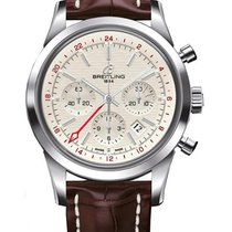 Breitling Transocean Chronograph GMT Steel 43mm White Arabic numerals
