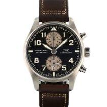 IWC Pilot Spitfire Chronograph Stal 43mm Brązowy Arabskie
