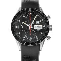 TAG Heuer Carrera Calibre 16 pre-owned 41mm Black Chronograph Date Weekday Tachymeter Rubber