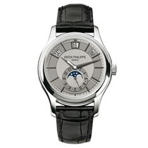 Patek Philippe White gold Automatic Silver No numerals 40mm new Annual Calendar