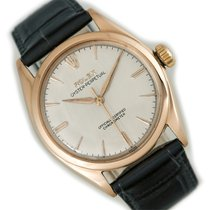 Rolex Rose gold Manual winding Silver No numerals 35mm pre-owned Oyster Perpetual