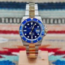 Rolex Submariner Date Золото/Cталь 41mm Синий Без цифр