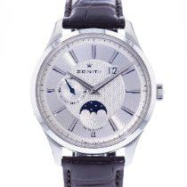 Zenith Steel Automatic Silver 40mm pre-owned Captain Moonphase