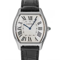 Cartier White gold Manual winding Silver Roman numerals 36mm pre-owned Tortue