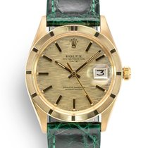 Rolex 1501 Vintage Shantung Brick Dial Yellow gold 1972 Oyster Perpetual Date 34mm pre-owned United Kingdom, London