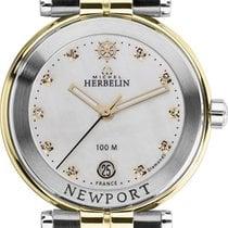 Michel Herbelin new Quartz Gemstones and/or diamonds PVD/DLC coating Gold/Steel Sapphire crystal