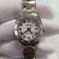 Rolex Lady-Datejust Pearlmaster Bjelo zlato 29mm Bjel Rimski brojevi
