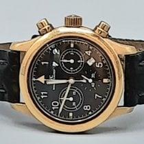 IWC Ouro amarelo Quartzo Preto Árabes 36mm usado Pilot Chronograph