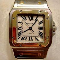 Cartier Santos Galbée Золото/Cталь 32mm Белый Римские