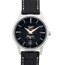 Longines Steel Automatic Black 38.5mm new Flagship Heritage