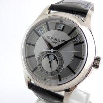 Patek Philippe Annual Calendar gebraucht 40mm Grau Mondphase Datum Wochentagsanzeige Monatsanzeige Jahreskalender Leder