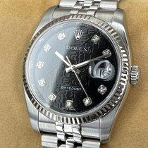 Rolex Datejust Stahl 36mm Schwarz Keine Ziffern
