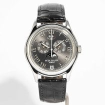 Patek Philippe Platinum Automatic Grey Roman numerals 36mm pre-owned Annual Calendar