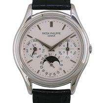 Patek Philippe Perpetual Calendar pre-owned 36mm Silver Moon phase Date Weekday Month Perpetual calendar Leather