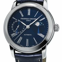 Frederique Constant Manufacture Classic Moonphase Steel 42mm Blue Roman numerals United States of America, New York, Monsey