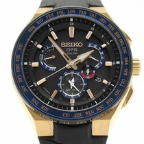 Seiko Astron GPS Solar Rose gold 46mm Black