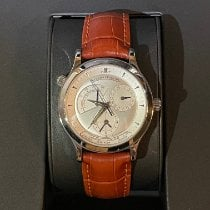 Jaeger-LeCoultre Master Geographic pre-owned 38mm Silver Date GMT Ostrich skin