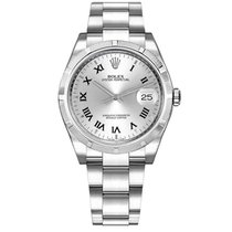 Rolex Oyster Perpetual Date Steel 34mm Silver Roman numerals