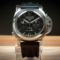 Panerai Luminor 1950 8 Days Chrono Monopulsante GMT Stahl 44mm Schwarz Arabisch