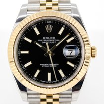 Rolex Yellow gold Automatic Black No numerals 41mm pre-owned Datejust II