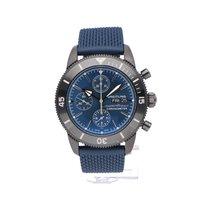 Breitling Superocean Heritage II Chronographe подержанные 44mm Синий Хронограф Дата Ткань