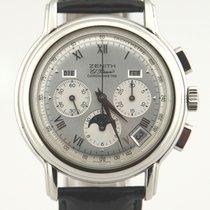 Zenith El Primero Chronomaster gebraucht 40mm Silber Mondphase Chronograph Datum Wochentagsanzeige Monatsanzeige Leder