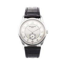 Patek Philippe Calatrava pre-owned 37mm Silver Crocodile skin