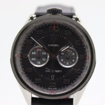 TAG Heuer Carrera Calibre 1887 pre-owned 45mm Black Chronograph Date Leather