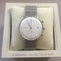 Junghans max bill Chronoscope pre-owned 40mm Silver Chronograph Date Leather