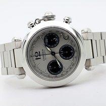 Cartier Pasha C usato 36mm Argento Cronografo Data Acciaio