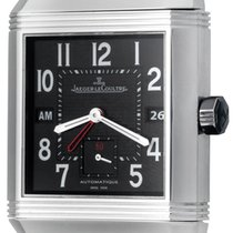 Jaeger-LeCoultre Reverso Squadra Hometime pre-owned 35mm Black Date GMT Rubber