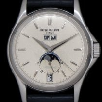 Patek Philippe White gold Automatic Silver No numerals 37mm pre-owned Annual Calendar