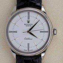 Rolex Cellini Time подержанные 39mm Белый Кожа аллигатора
