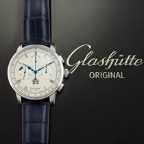 Glashütte Original Platinum Automatic Silver 41mm pre-owned Senator Chronograph Panorama Date