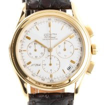 Zenith El Primero Chronograph pre-owned 39.5mm White Chronograph Date Crocodile skin