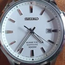 Seiko Kinetic Steel 43mm White No numerals