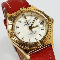 Breitling Gelbgold Quarz Weiß 30mm gebraucht