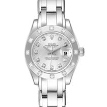 Rolex Lady-Datejust Pearlmaster pre-owned 29mm Silver Date White gold