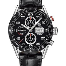 TAG Heuer Carrera Calibre 16 pre-owned 43mm Black Chronograph Date Tachymeter Leather